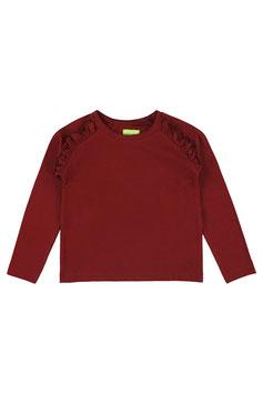 Langarm-Shirt mir Rüsche in Bordeaux von Lily Balou