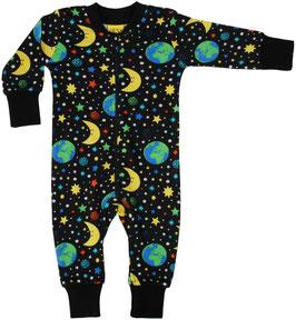 NEU: Einteiler-Pyjama mit Weltall auf Schwarz/Blau bis Grösse 146 von DUNS