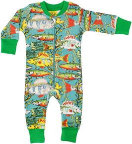 Einteiler-Pyjama mit Fischen (grün) von DUNS bis Grösse 122
