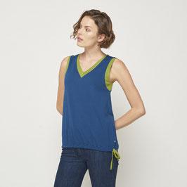 SALE: Ärmelloses Shirt mit V-Ausschnitt Blau von Tranquillo