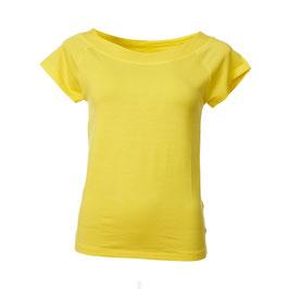 Kurzarm-Damenshirt und leichtem mit Bateau-Ausschnitt in Gelb von Froy&Dind