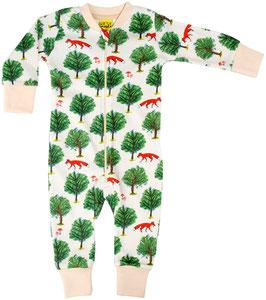 Einteiler-Pyjama mit Fuchs und Baum in Beige von DUNS