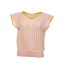 NEU: Shirt gestrickt in Zartrosa mit curryfarbenen Abschlüssen von OyDi