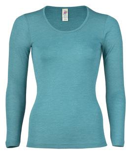 Wolle/Seide Langarm-Shirt für Damen in Türkis von Engel Naturtextilien
