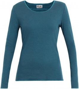 Damenshirt gestreift Blau-Türkis mit türkis Abschluss von Jalfe
