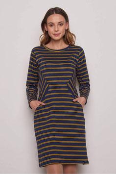 NEU: Kleid aus Heavy Slub gestreift blau/mustard von Tranquillo