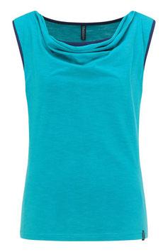 SALE: Duofarben-Shirt mit Wasserfallkragen in türkis/dunkelbla von Tranquillo