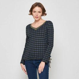 SALE: Langarm-Shirt V-Ausschnitt und Raffung unten von Tranquillo