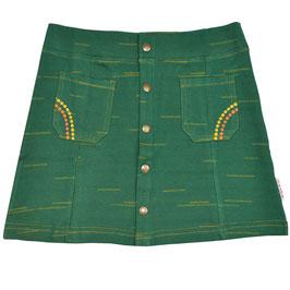 SALE: Jupe mit Knöpfen in Grün, mit orangen feinen Streifen von Baba