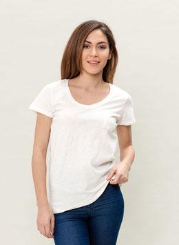 Basic T-shirt mit kleiner Brusttasche offwhite von Organication