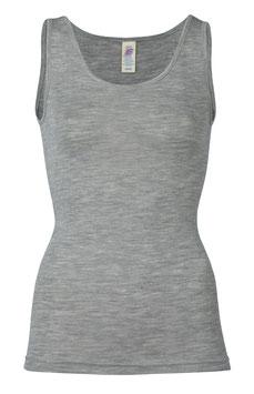 NEU: Wolle/Seide Träger-Shirt ärmellos für Damen in Grau Mélange von Engel Naturtextilien