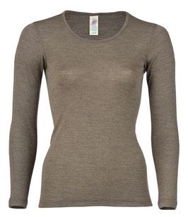 NEU: Wolle/Seide Langarm-Shirt für Damen in Wallnuss von Engel Naturtextilien