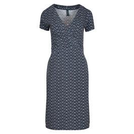 SALE: Halbwickel-Kleid  mit Lotusblumen dunkelblau von Tranquillo