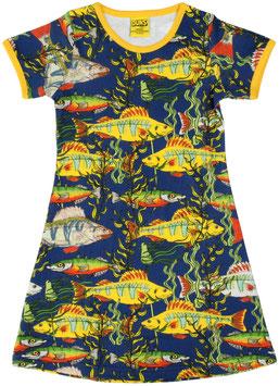 SALE: Kurzarm-Kleid mit Fischen auf Blau von DUNS