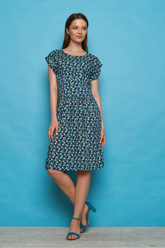 SALE: Sommer-Kleid gemustert Dunkelgrün/Navy Tranquillo
