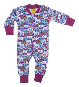 NEU: Einteiler-Pyjama mit Veilchen auf Blau/Violet bis Grösse 140 von DUNS