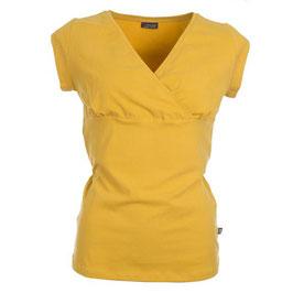 Damenshirt Kurzarm mit Wickeloptik in Mustard