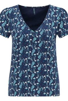 SALE: Kurzarm-Shirt mit Blätter auf Dunkelblau von Tranquillo