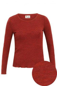 Wolle-Damenshirt Langarm rost mélange von Jalfe