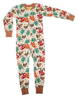 NEU: Einteiler-Pyjama mit Vogel und Beeren auf Beige bis Grösse 152 von DUNS