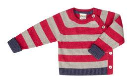 NEU: Wolle Strick-Pulli Kimono rot/grau gestreift von Puri Organic