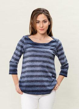 SALE : Gestreiftes 3/4-Arm Shirt in indigoblau von Organication