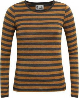 Wolle-Damenshirt Langarm gestreift Mustard/Anthrazit von Jalfe