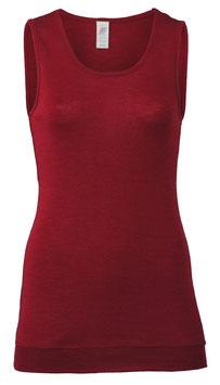NEU: Wolle/Seide Long-Shirt ärmellos für Damen in Malve von Engel Naturtextilien