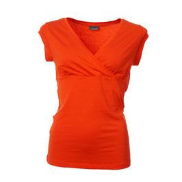 SALE: Damenshirt Kurzarm mit Wickeloptik in Poppy Red