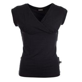 Damenshirt Kurzarm mit Wickeloptik in Schwarz