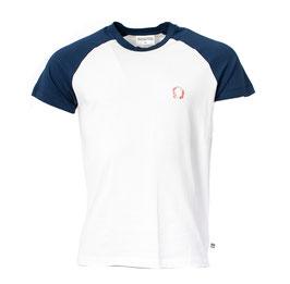 NEU: T-shirt Raglan Weiss/Blau mit Kopfhörer von Munoman