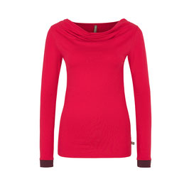Einzelstück-SALE: Langarm-Shirt in Rot mit dunkelvioletten Bündchen von Tranquillo
