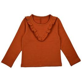 Langarm-Shirt mir Rüsche in Herbstbraun von Baba