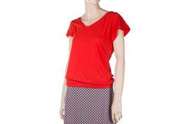 Damenshirt in rot mit V-Ausschnitt