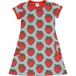 Kurzarm-Kleid A-Schnitt mit Erdbeeren von Maxomorra