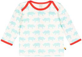 SALE: Pulli mit hellblauen Nashörnern und roter Einfassung von Loud+Proud