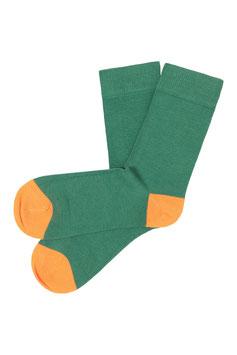 NEU: Socken uni Grün mit Orange von Tranquillo