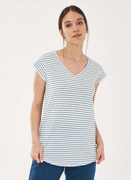 SALE: Kurzarm-Shirt gestreift weiss/blau von Organication