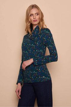 NEU: Langarm-Shirt mit Wickel-Kragen mit Blumen von Tranquillo