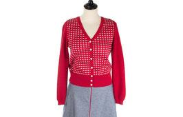 SALE -40%: Trikot-Cardigan rot mit weissem Muster