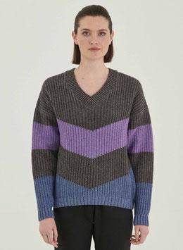 NEU: Woll-Pullover gestrickt in Grau/Violet/Blau von Organication