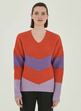 NEU: Woll-Pullover gestrickt in Orangerot/Violet/Lila von Organication