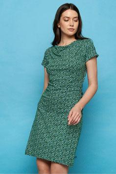 SALE: Kleid mit Wasserfallkragen mit Tupfen auf Grün von Tranquillo