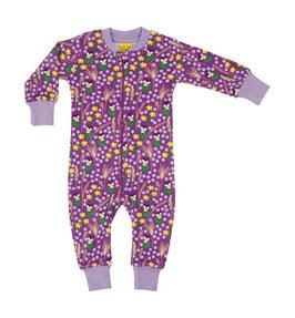 NEU: Einteiler-Pyjama mit Blumenwiese auf Violett bis Grösse 146 von DUNS