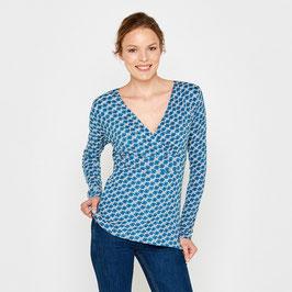 SALE: Langarm-Shirt gemustert in Blautönen von Tranquillo