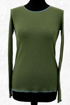 Wolle-Damenshirt Olivegrün und türkis Abschluss von Jalfe