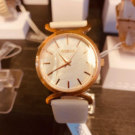 OOZOO Damen-Armbanduhr Weiss/Roségold Nr. 10