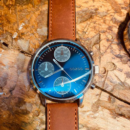 OOZOO Unisex Armbanduhr Blau/Silber Nr.17