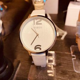 OOZOO Damen-Armbanduhr Silber/Weiss Nr. 09
