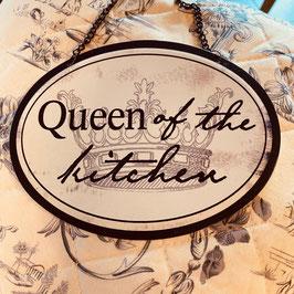 """Metallschild rund mit """"Queen of the Kitchen"""""""